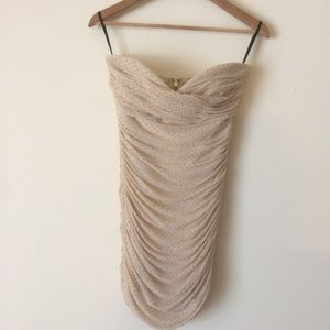 Strapless Rouched Sparkle Bebe Dress